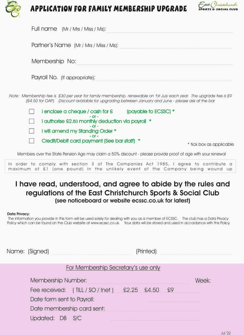 Membership Upgrade Form
